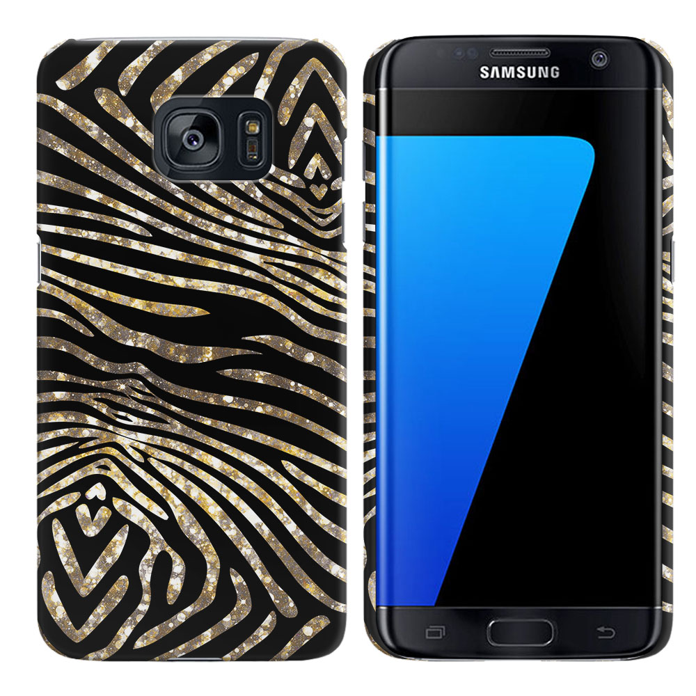 Samsung Galaxy S7 Edge G935 Zebra Stripes Gold Back Cover Case