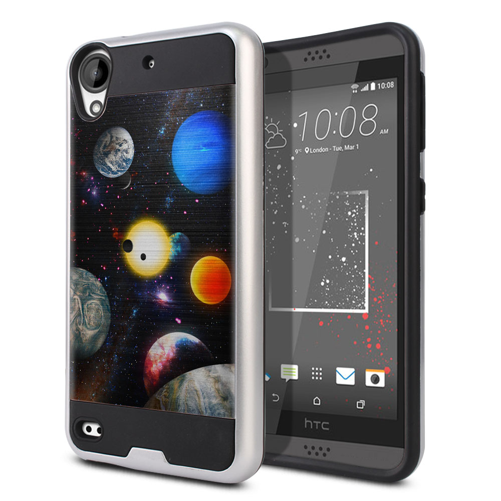 HTC Desire 530 630 Hybrid Fusion Brushed Planet Solar System 2 Protector Cover Case
