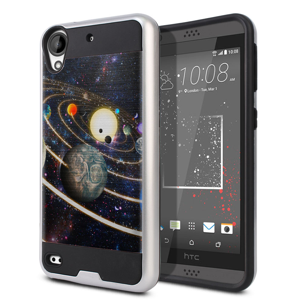 HTC Desire 530 630 Hybrid Fusion Brushed Rings of Solar System Protector Cover Case