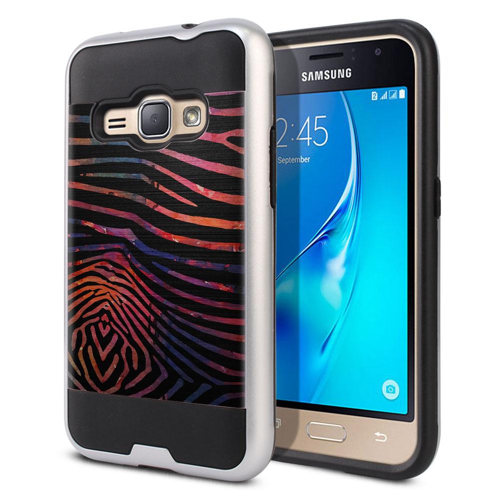 Samsung Galaxy J1 J120 2nd Gen 2016 Hybrid Fusion Brushed Zebra Stripes Dusk Protector Cover Case