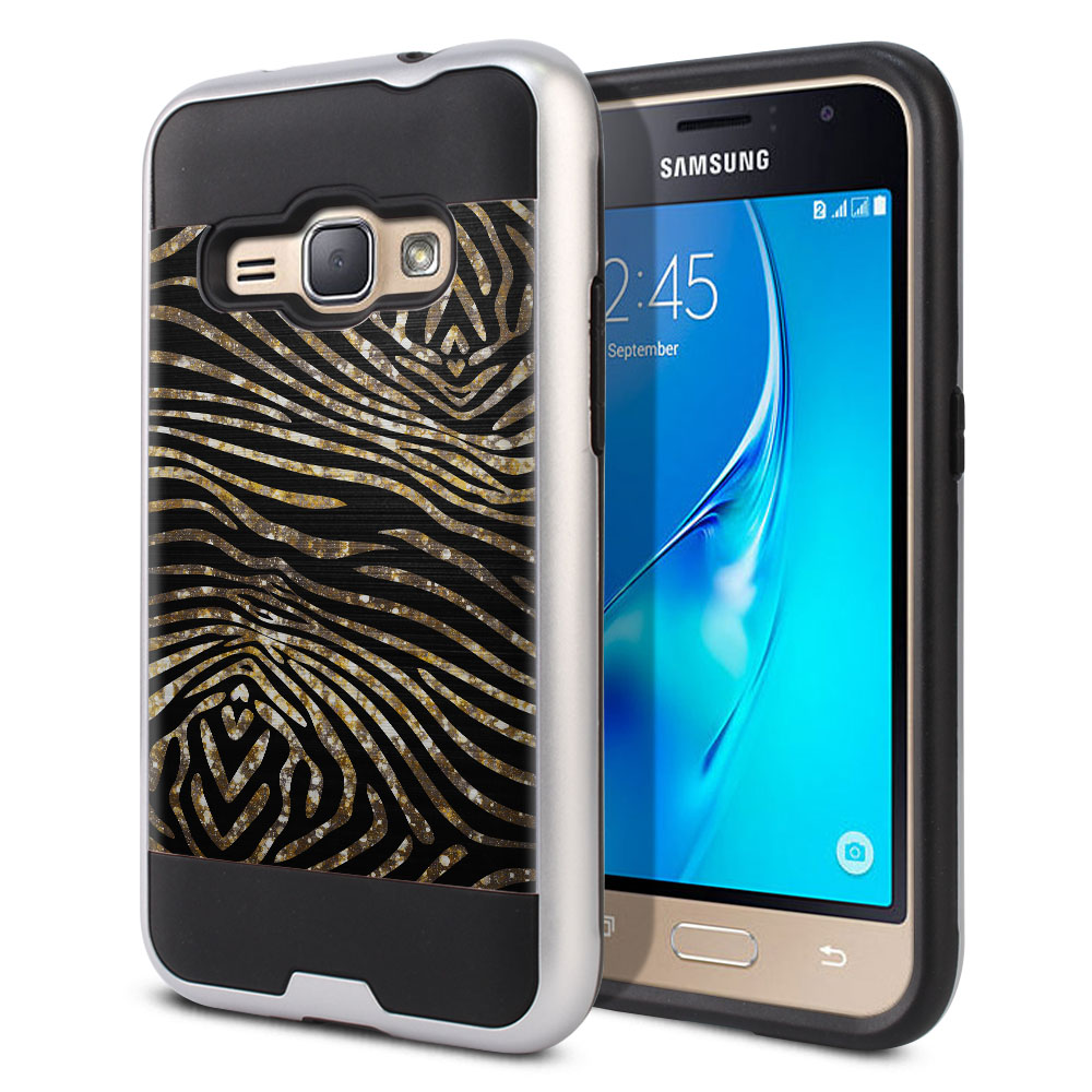 Samsung Galaxy J1 J120 2nd Gen 2016 Hybrid Fusion Brushed Zebra Stripes Gold Protector Cover Case