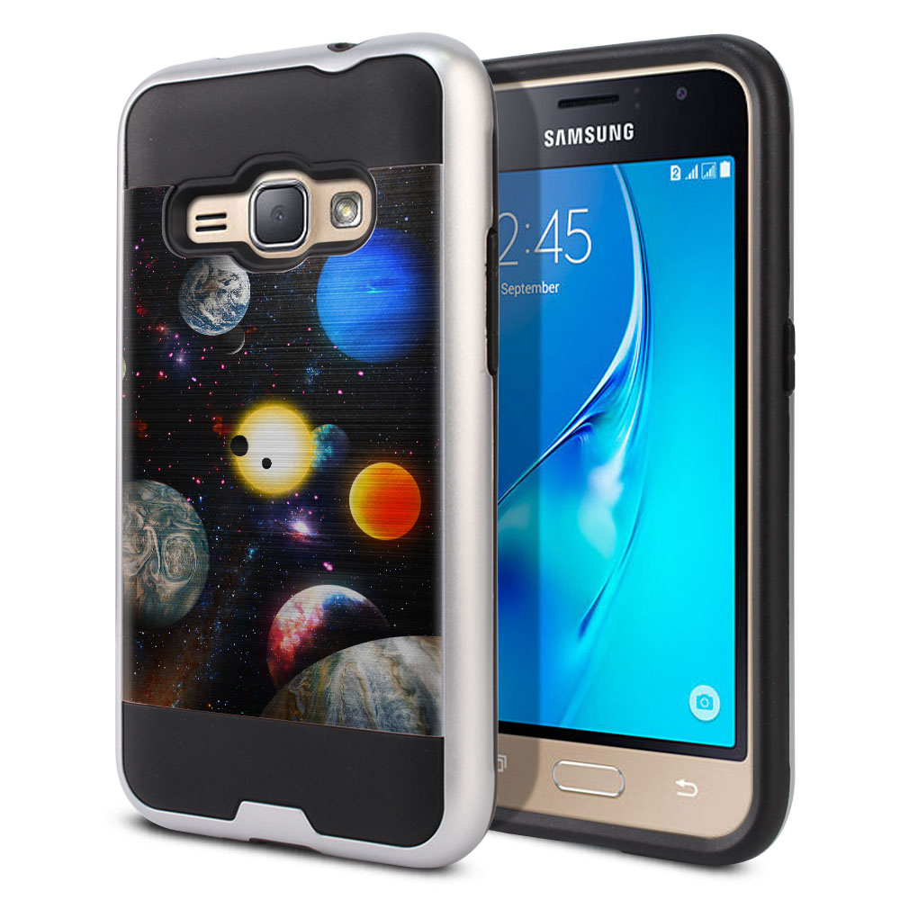 Samsung Galaxy J1 J120 2nd Gen 2016 Hybrid Fusion Brushed Planet Solar System 2 Protector Cover Case