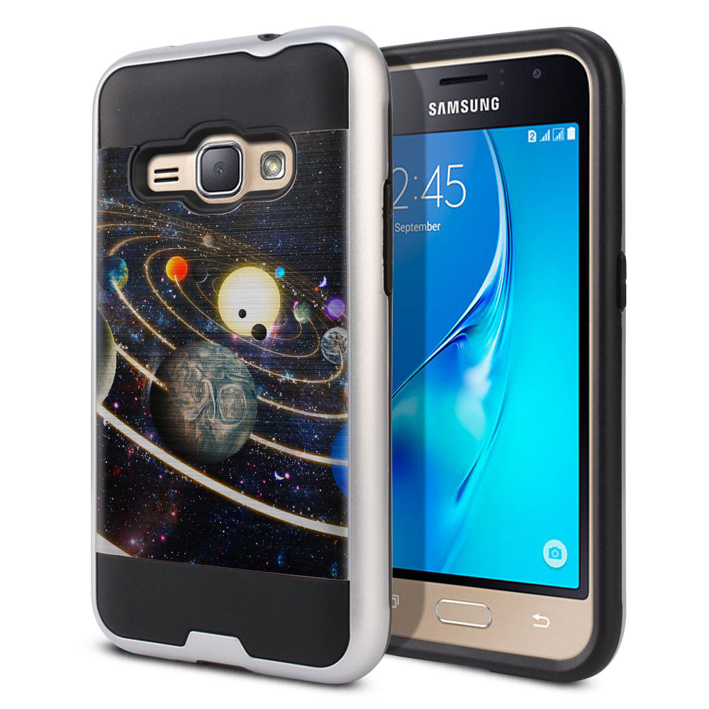 Samsung Galaxy J1 J120 2nd Gen 2016 Hybrid Fusion Brushed Rings of Solar System Protector Cover Case