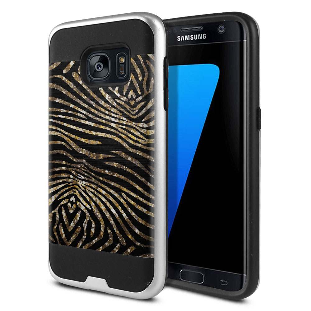 Samsung Galaxy S7 G930 Hybrid Fusion Brushed Zebra Stripes Gold Protector Cover Case