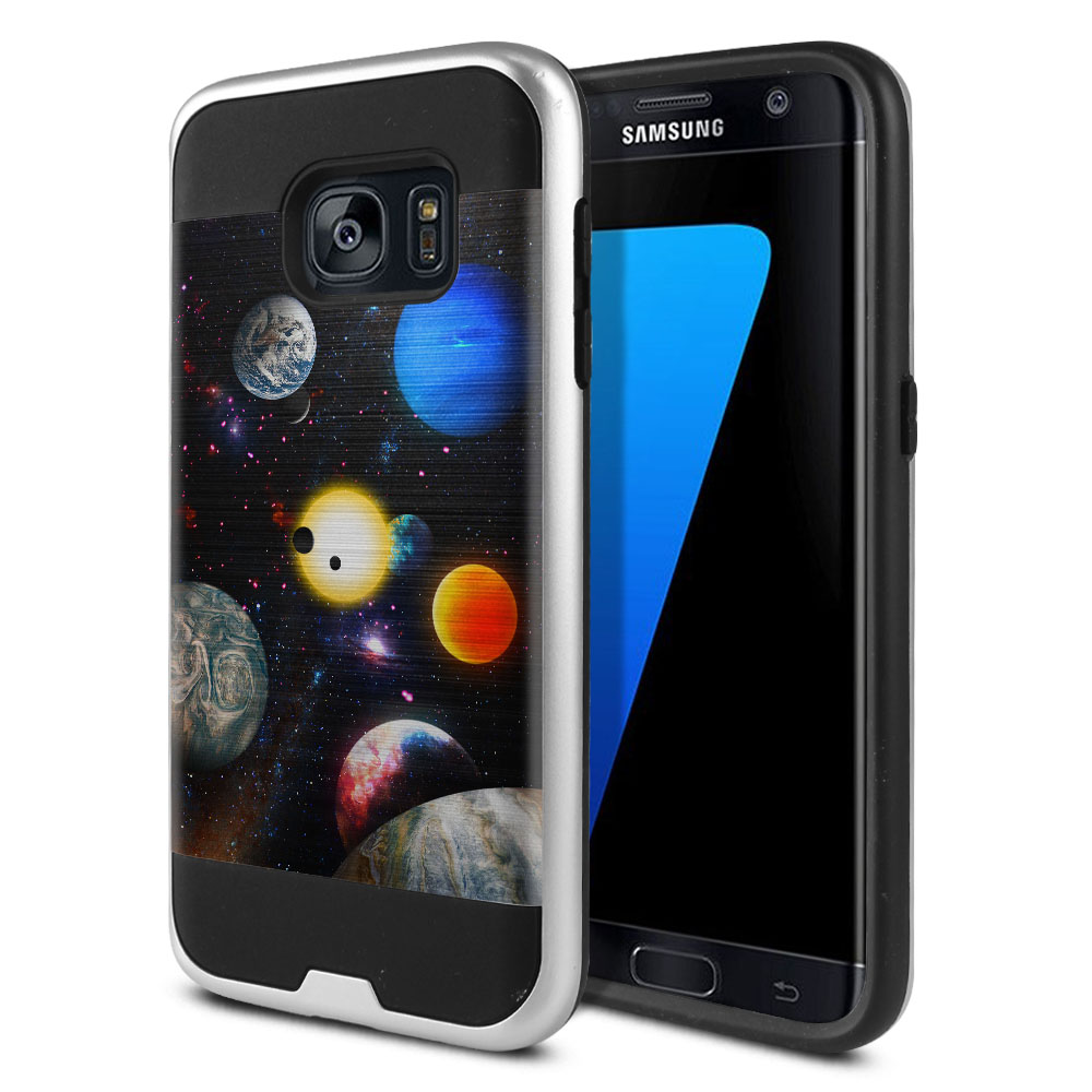 Samsung Galaxy S7 G930 Hybrid Fusion Brushed Planet Solar System 2 Protector Cover Case