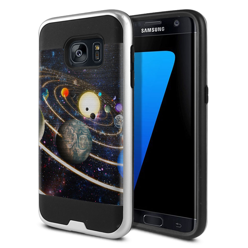 Samsung Galaxy S7 G930 Hybrid Fusion Brushed Rings of Solar System Protector Cover Case