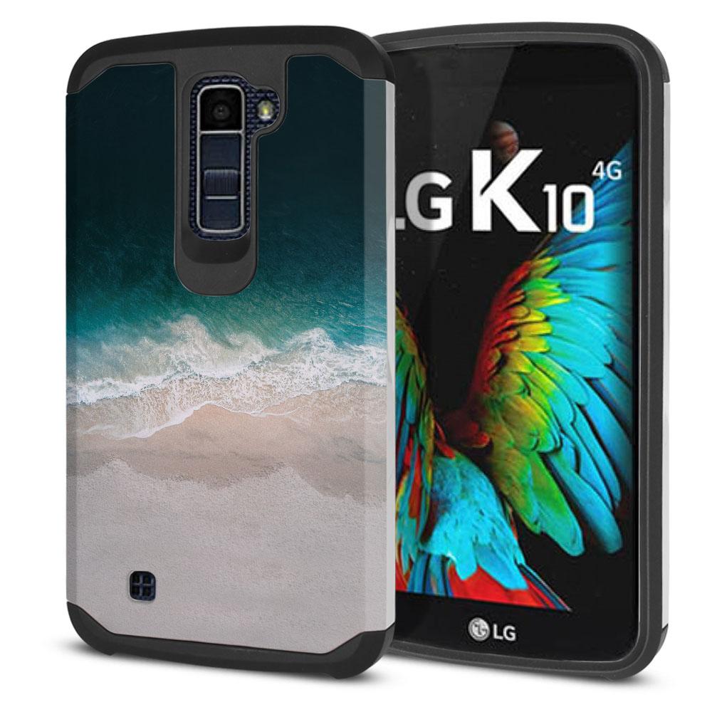 LG K10 Premier LTE L62VL L61AL K428 K430 K420 K420N Hybrid Slim Fusion Sandy Beach Protector Cover Case