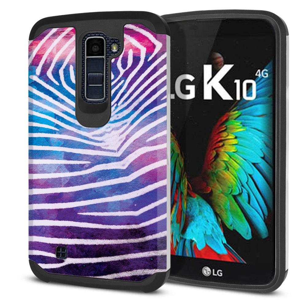 LG K10 Premier LTE L62VL L61AL K428 K430 K420 K420N Hybrid Slim Fusion Zebra Stripes White Protector Cover Case