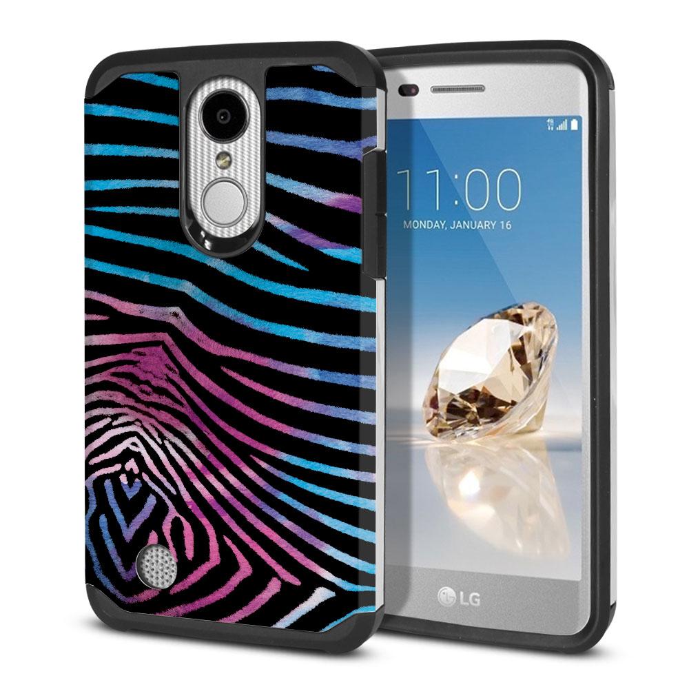 LG Aristo MS210 LV3 K8 (2017)/ Phoenix 3 M150 Hybrid Slim Fusion Zebra Stripes Black Protector Cover Case