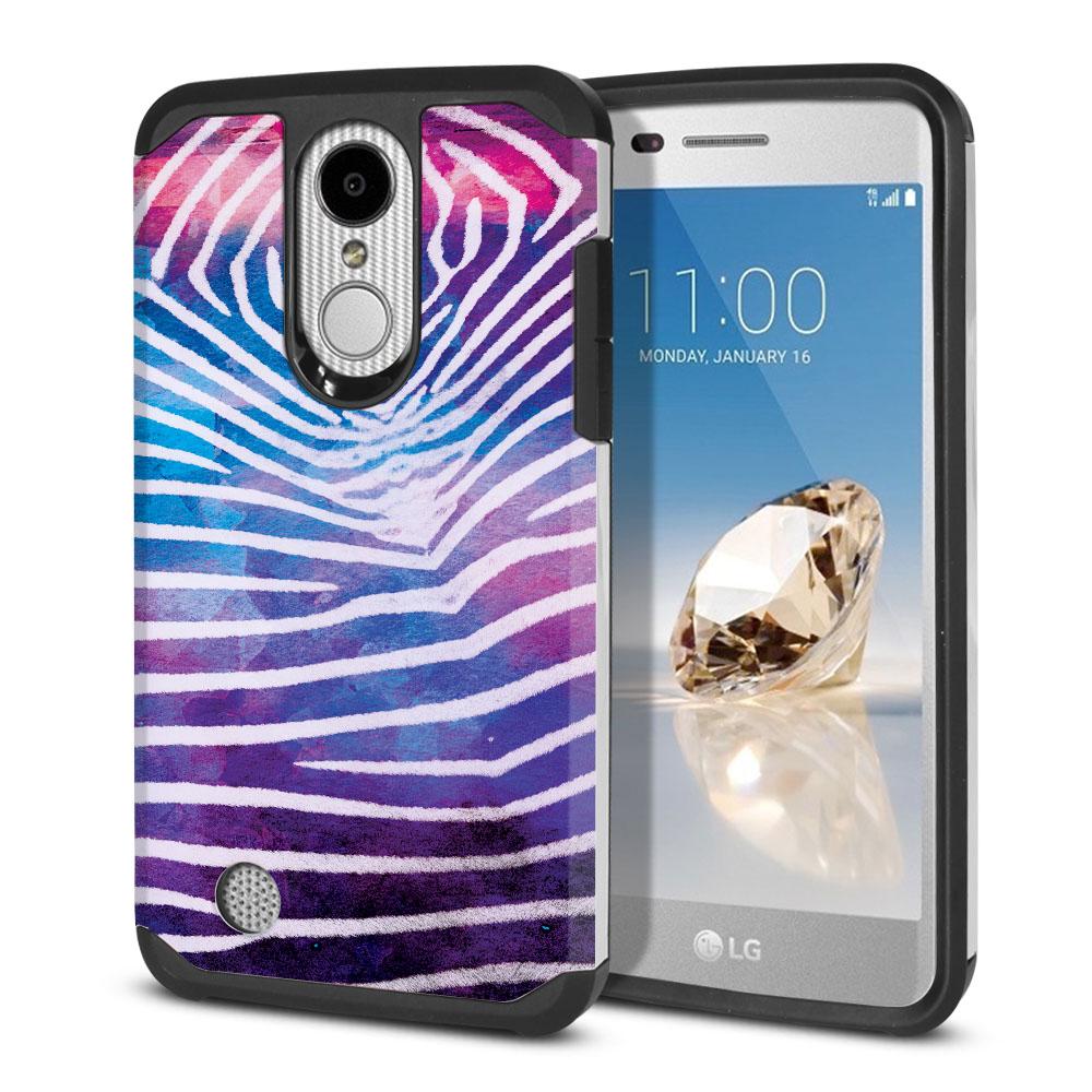 LG Aristo MS210 LV3 K8 (2017)/ Phoenix 3 M150 Hybrid Slim Fusion Zebra Stripes White Protector Cover Case