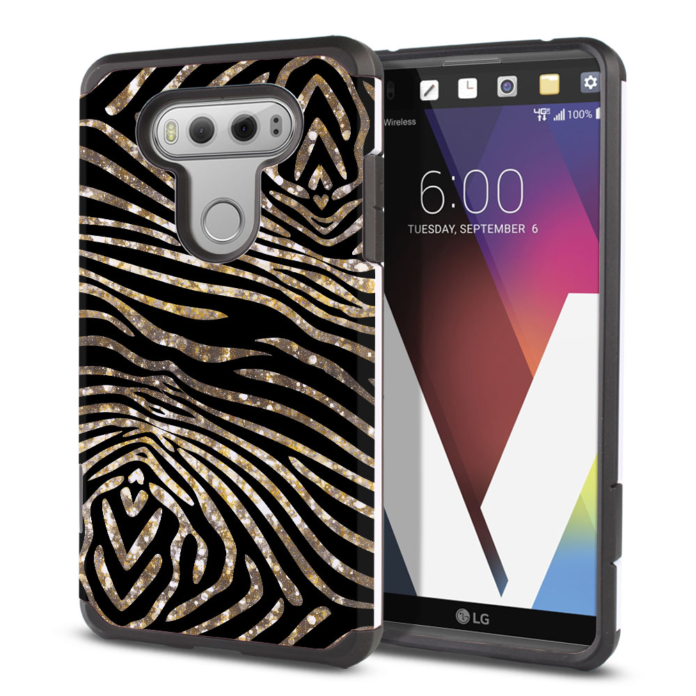 LG V20 VS995 H990 LS997 H910 H918 US996 Hybrid Slim Fusion Zebra Stripes Gold Protector Cover Case