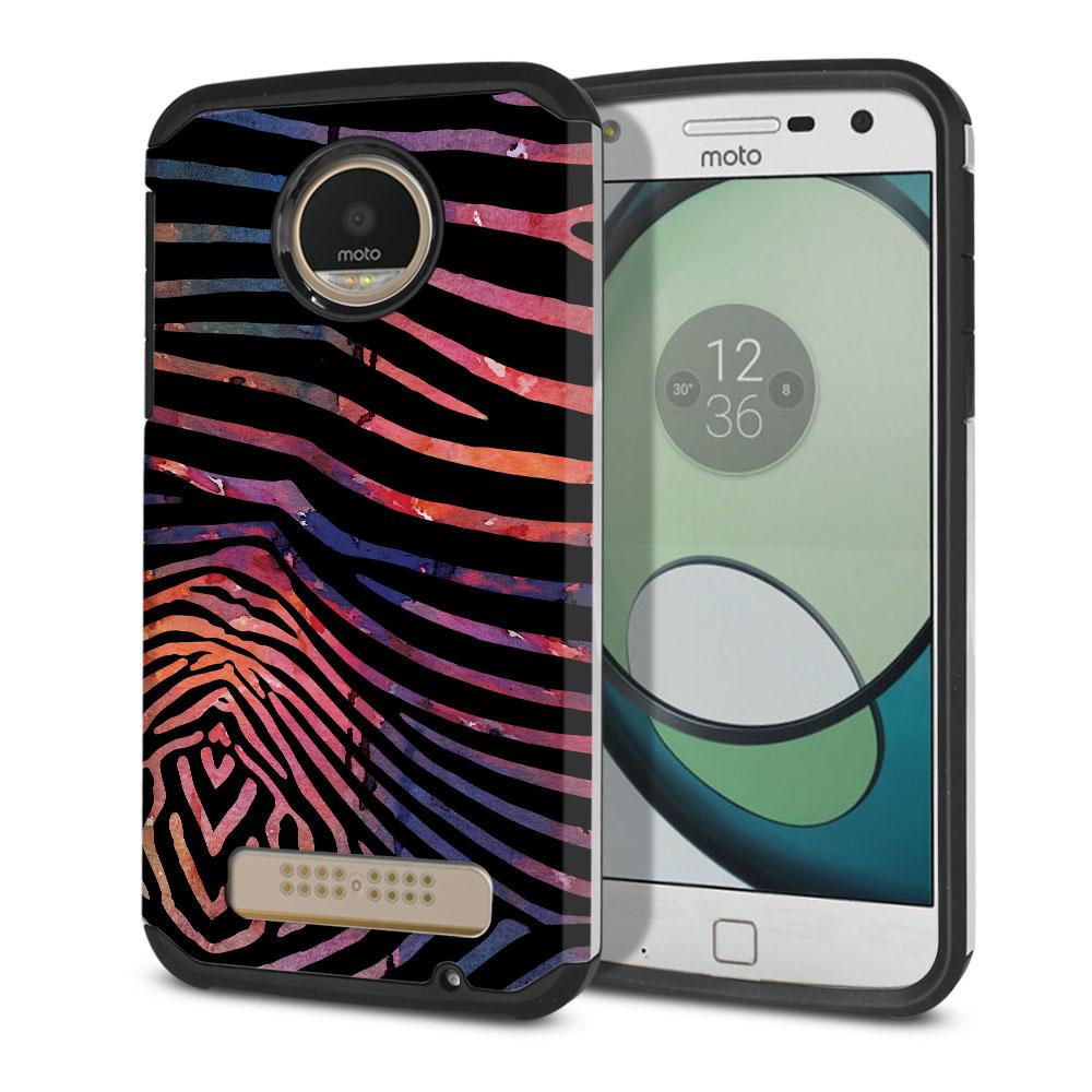 Motorola Moto Z Play Droid XT1635 Hybrid Slim Fusion Zebra Stripes Dusk Protector Cover Case