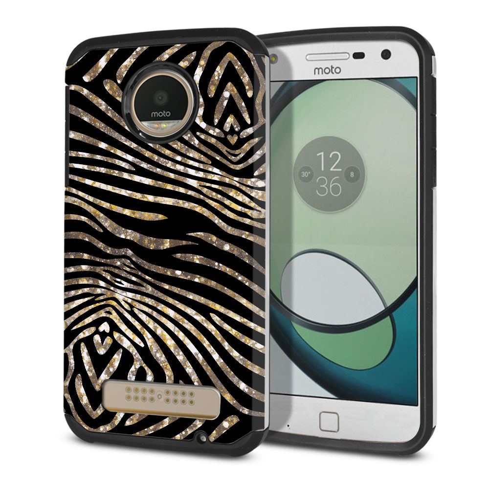 Motorola Moto Z Play Droid XT1635 Hybrid Slim Fusion Zebra Stripes Gold Protector Cover Case