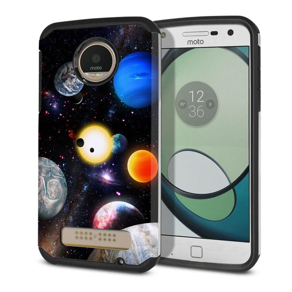 Motorola Moto Z Play Droid XT1635 Hybrid Slim Fusion Planet Solar System 2 Protector Cover Case