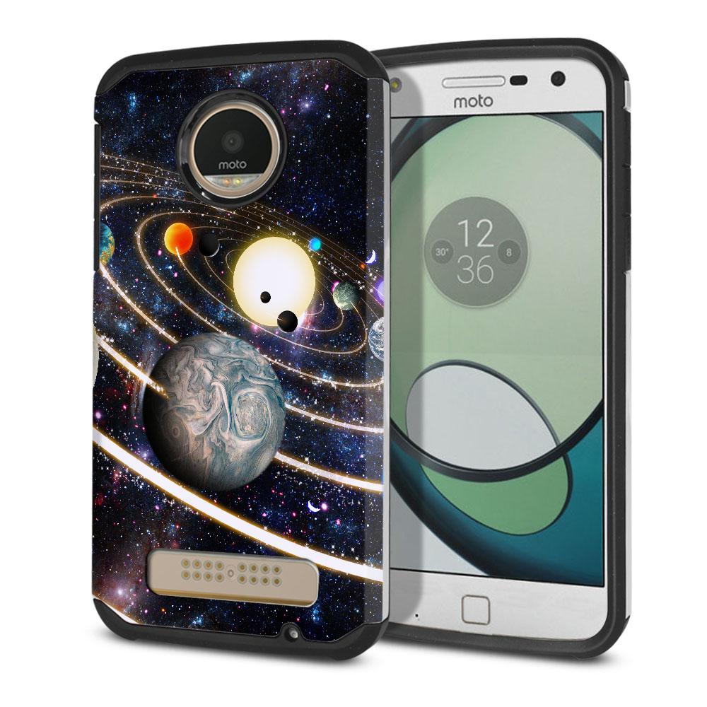 Motorola Moto Z Play Droid XT1635 Hybrid Slim Fusion Rings of Solar System Protector Cover Case