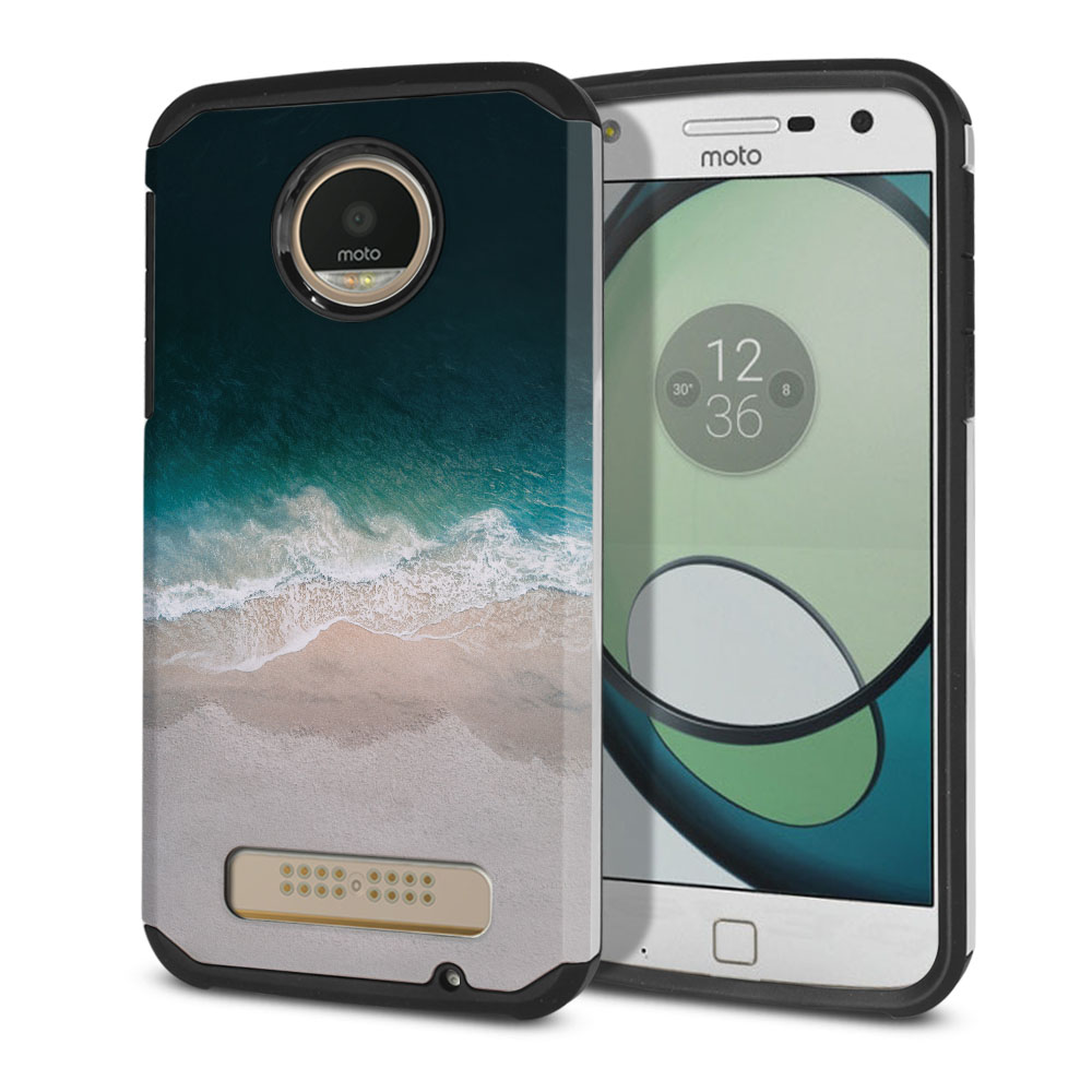 Motorola Moto Z Play Droid XT1635 Hybrid Slim Fusion Sandy Beach Protector Cover Case