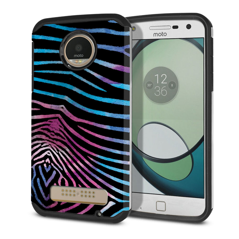 Motorola Moto Z Play Droid XT1635 Hybrid Slim Fusion Zebra Stripes Black Protector Cover Case