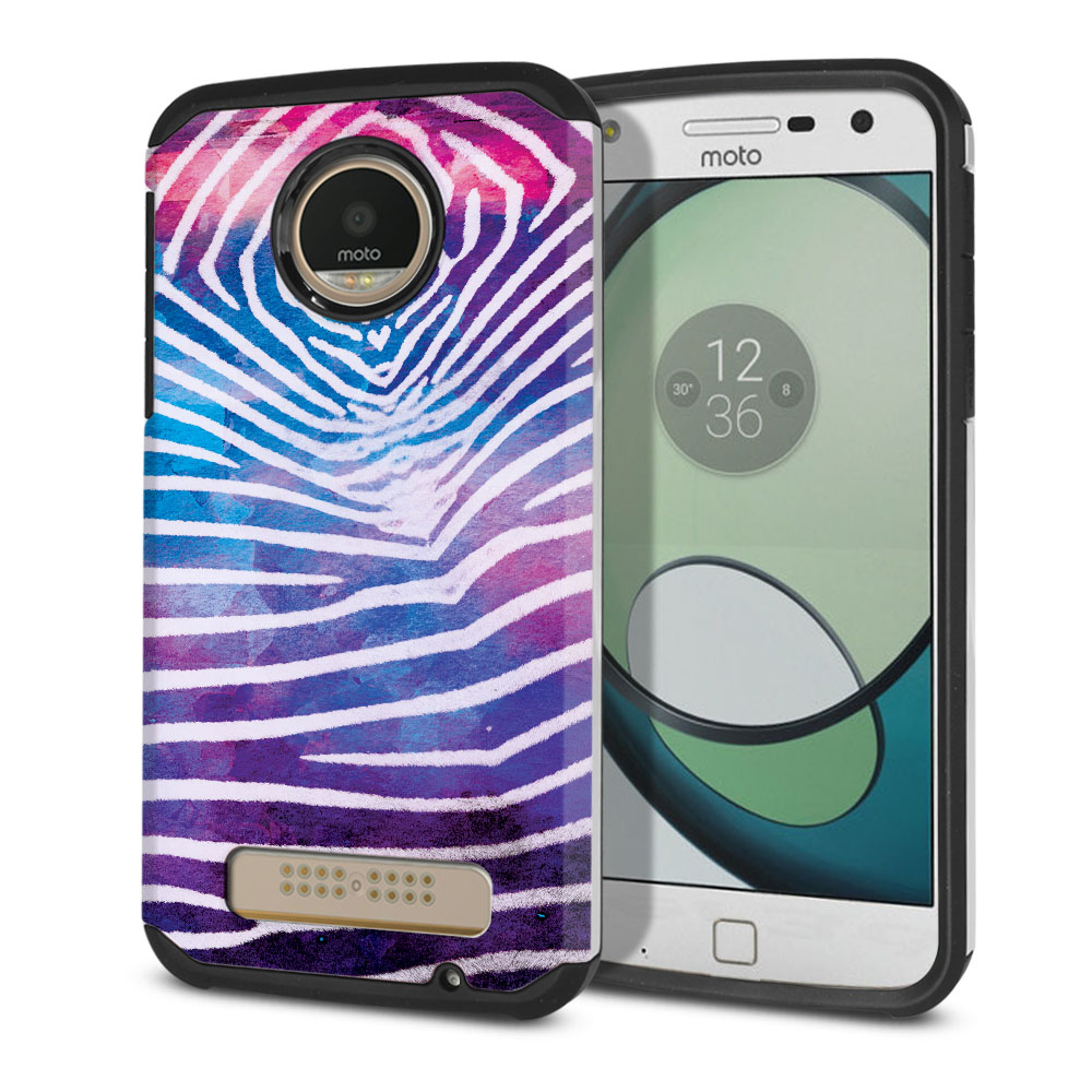 Motorola Moto Z Play Droid XT1635 Hybrid Slim Fusion Zebra Stripes White Protector Cover Case