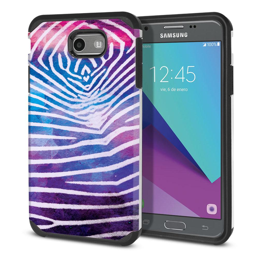 Samsung Galaxy J3 Emerge J327 2017 2nd Gen Hybrid Slim Fusion Zebra Stripes White Protector Cover Case