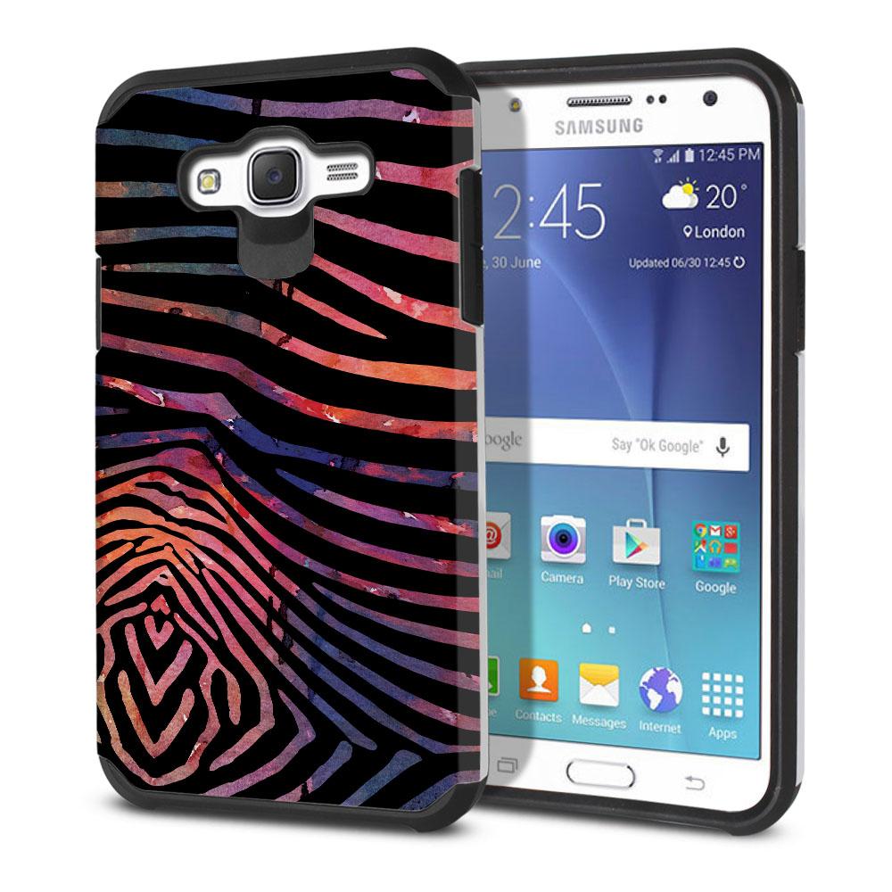Samsung Galaxy J7 J700 Hybrid Slim Fusion Zebra Stripes Dusk Protector Cover Case