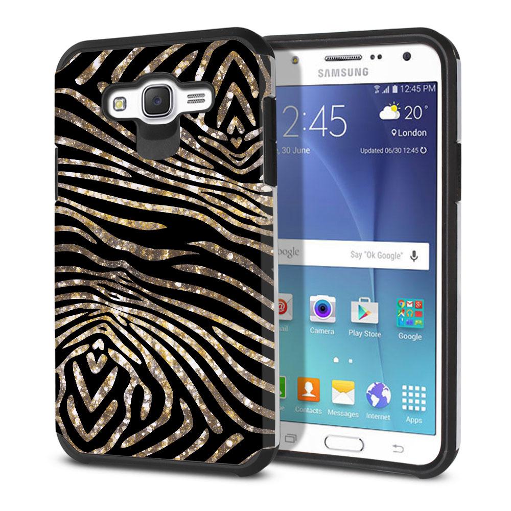 Samsung Galaxy J7 J700 Hybrid Slim Fusion Zebra Stripes Gold Protector Cover Case