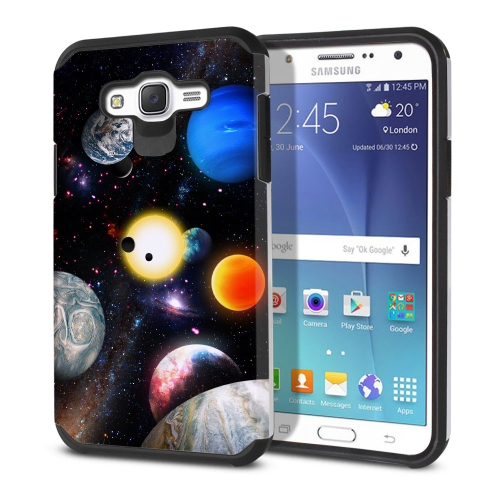 Samsung Galaxy J7 J700 Hybrid Slim Fusion Planet Solar System 2 Protector Cover Case