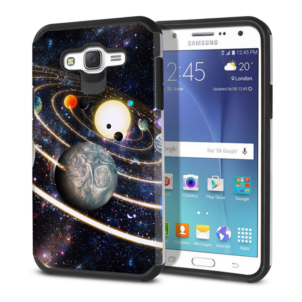 Samsung Galaxy J7 J700 Hybrid Slim Fusion Rings of Solar System Protector Cover Case