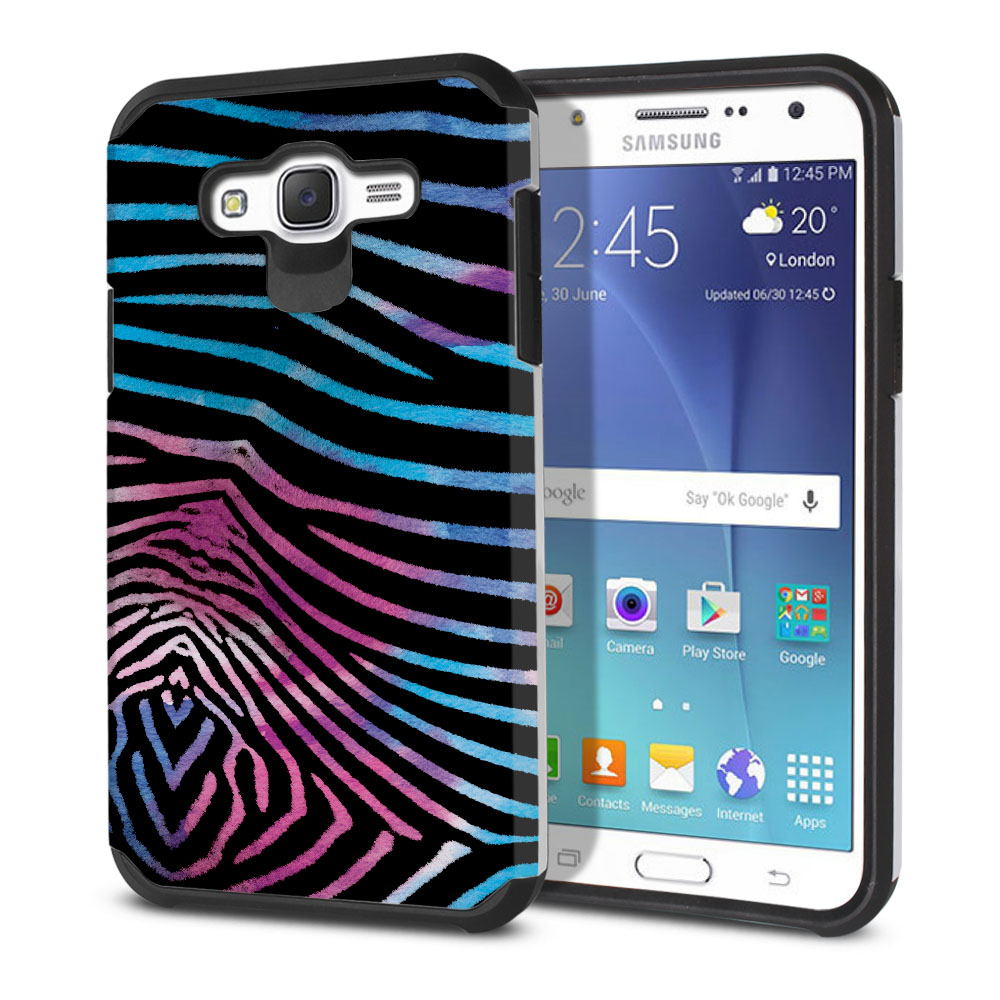 Samsung Galaxy J7 J700 Hybrid Slim Fusion Zebra Stripes Black Protector Cover Case