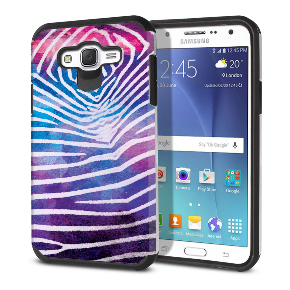 Samsung Galaxy J7 J700 Hybrid Slim Fusion Zebra Stripes White Protector Cover Case
