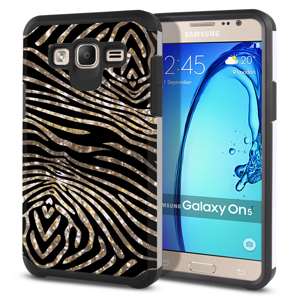 Samsung Galaxy On5 G550 G500 Hybrid Slim Fusion Zebra Stripes Gold Protector Cover Case