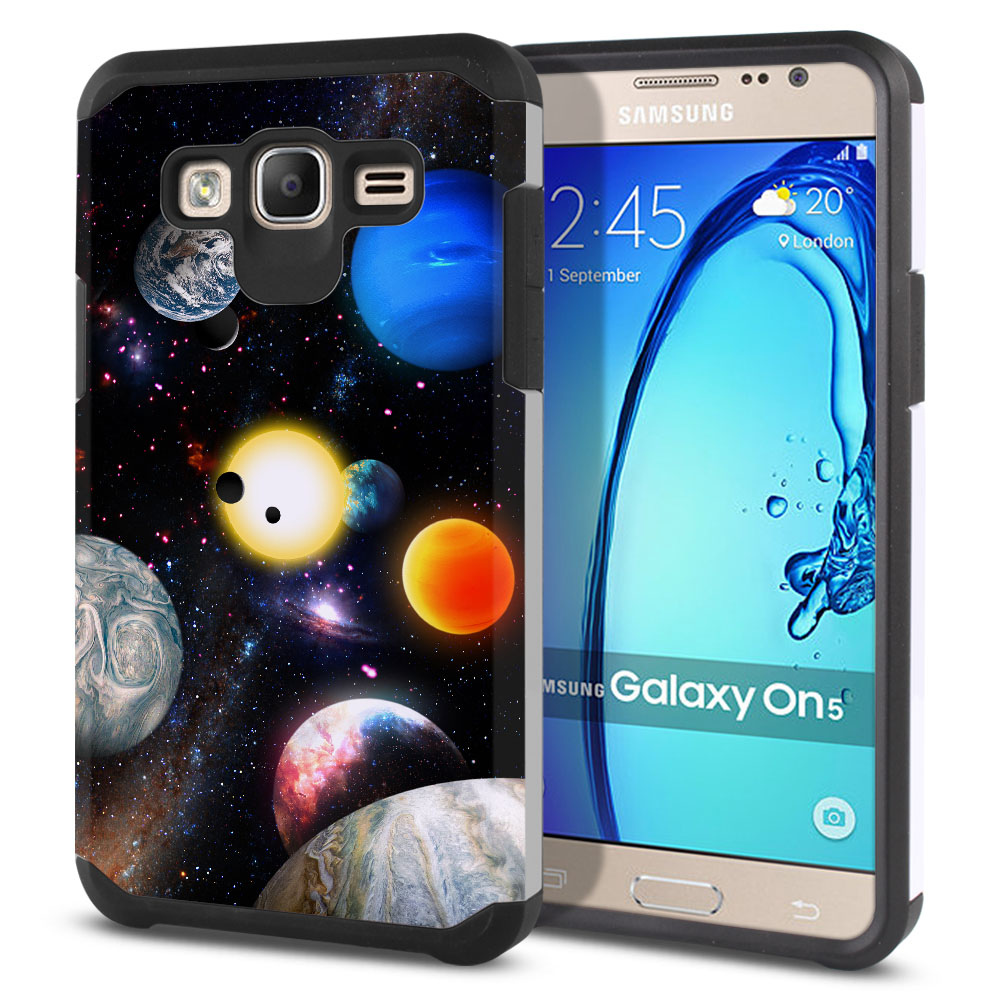 Samsung Galaxy On5 G550 G500 Hybrid Slim Fusion Planet Solar System 2 Protector Cover Case