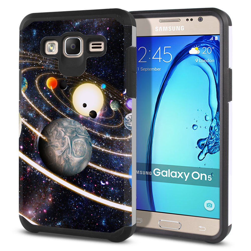Samsung Galaxy On5 G550 G500 Hybrid Slim Fusion Rings of Solar System Protector Cover Case