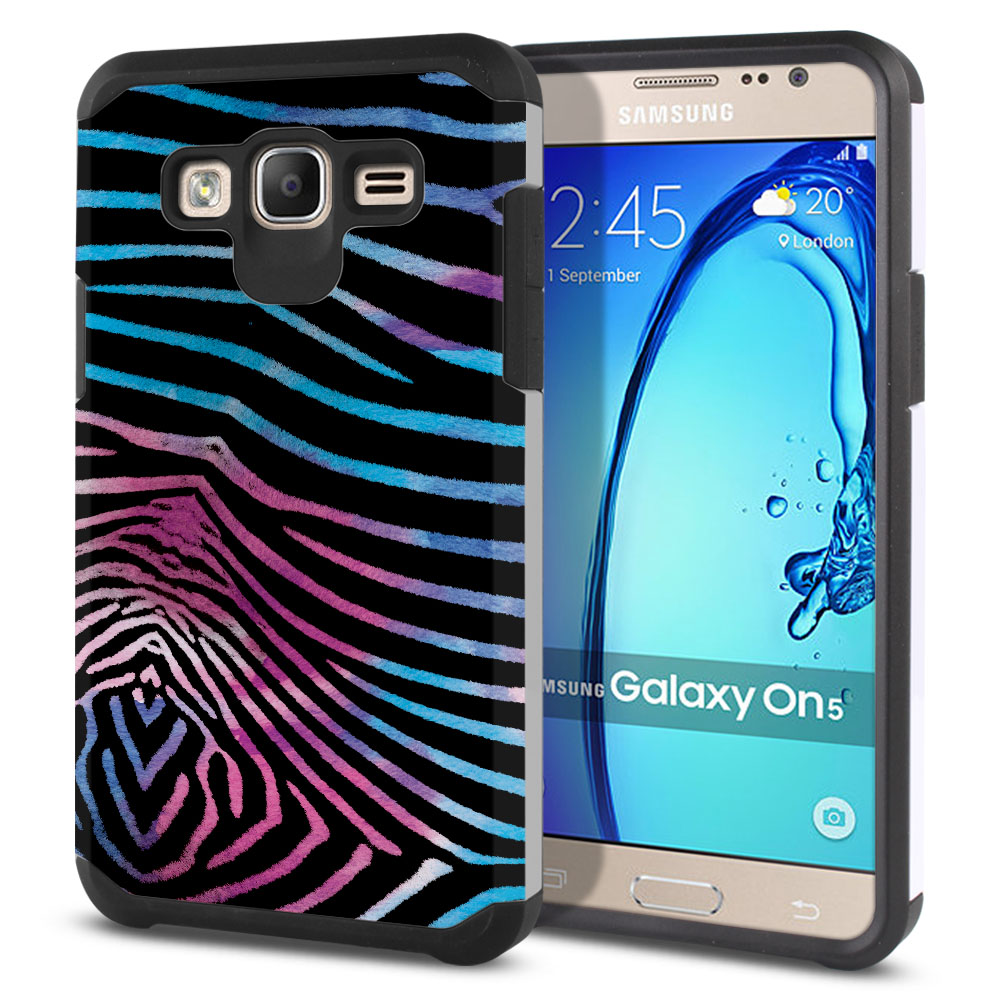 Samsung Galaxy On5 G550 G500 Hybrid Slim Fusion Zebra Stripes Black Protector Cover Case