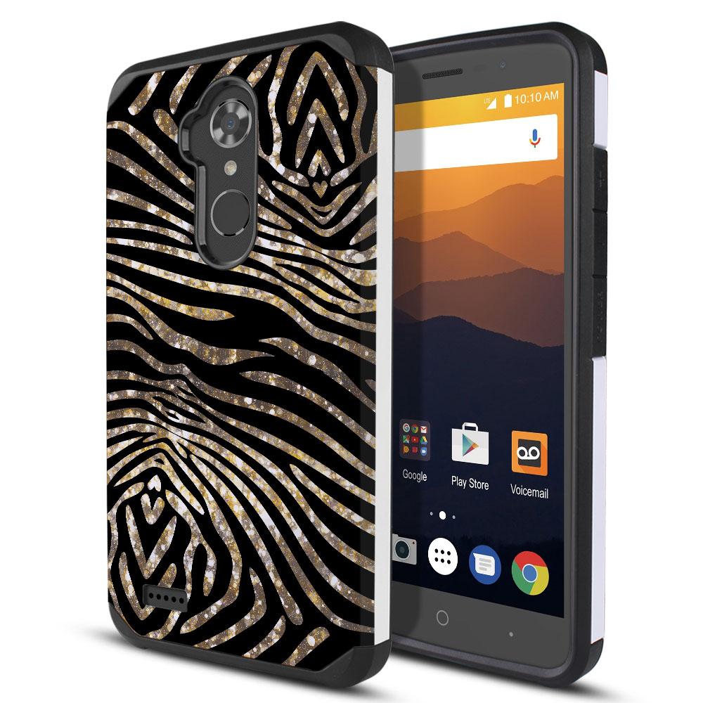 ZTE Max XL N9560 Hybrid Slim Fusion Zebra Stripes Gold Protector Cover Case