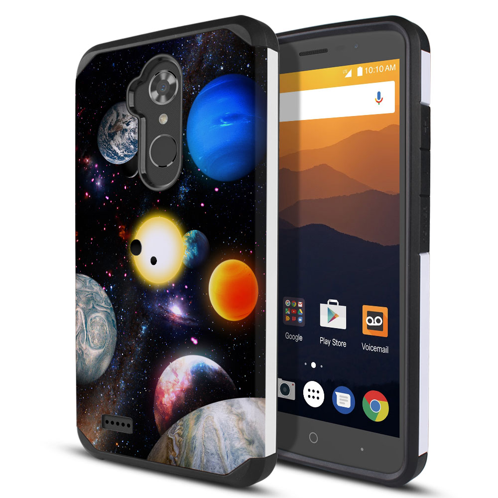 ZTE Max XL N9560 Hybrid Slim Fusion Planet Solar System 2 Protector Cover Case