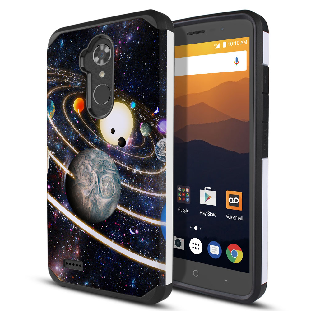 ZTE Max XL N9560 Hybrid Slim Fusion Rings of Solar System Protector Cover Case