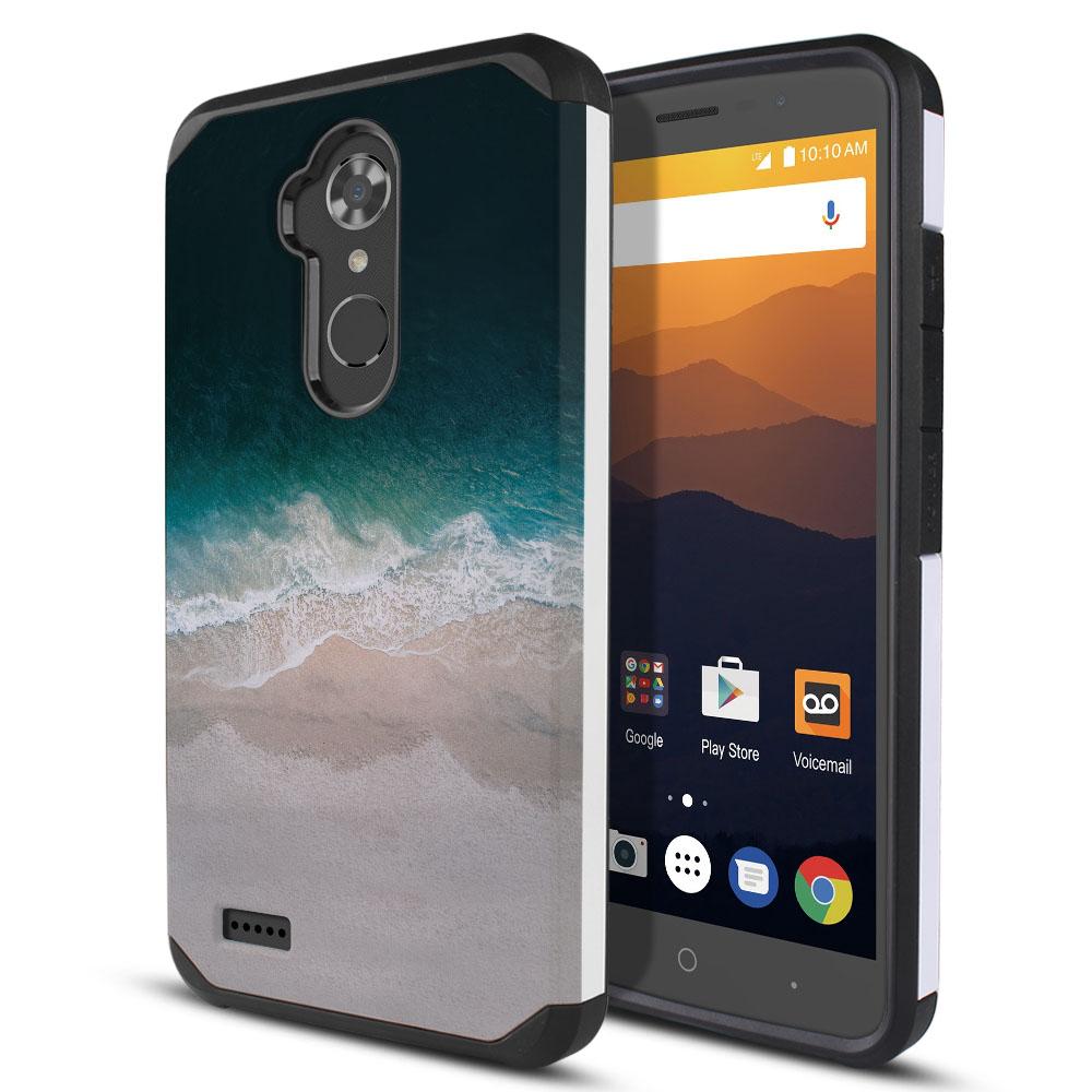 ZTE Max XL N9560 Hybrid Slim Fusion Sandy Beach Protector Cover Case