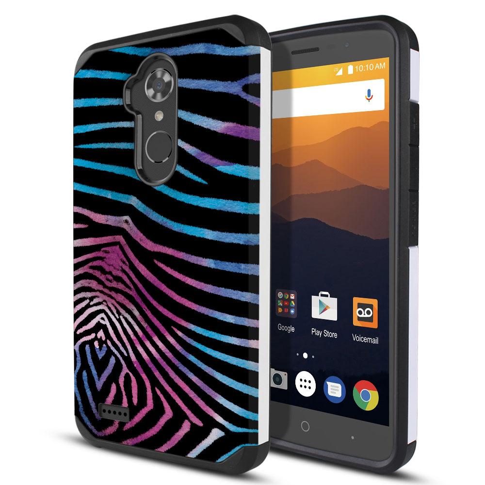 ZTE Max XL N9560 Hybrid Slim Fusion Zebra Stripes Black Protector Cover Case