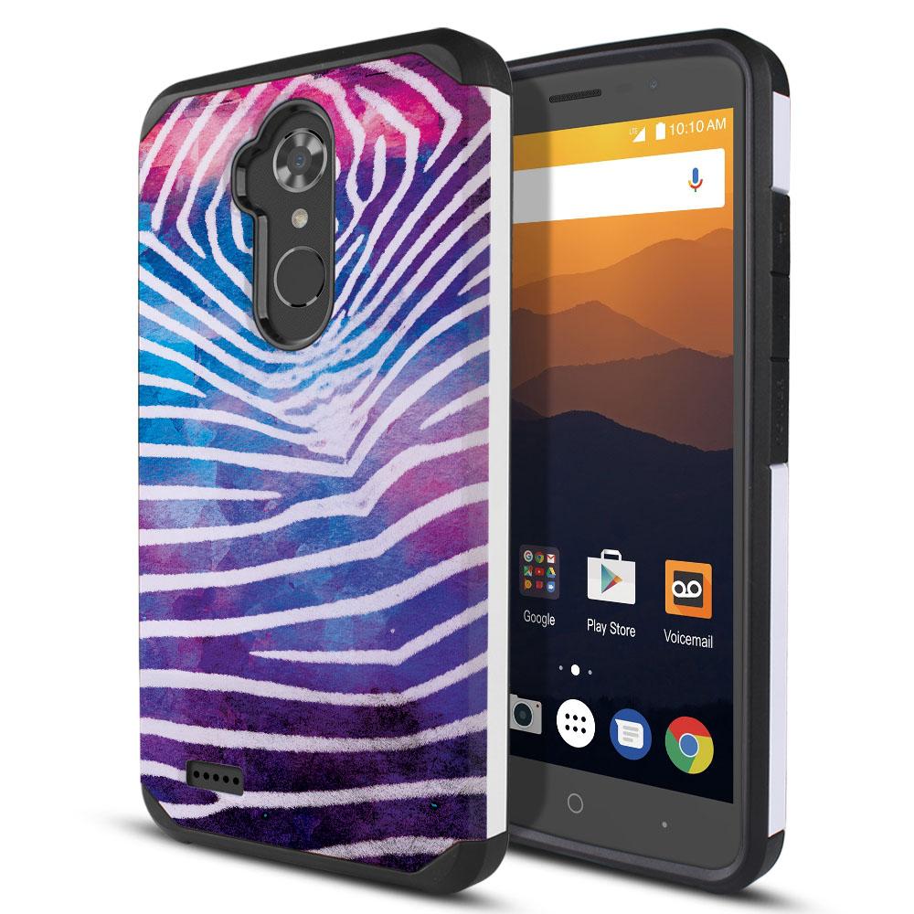 ZTE Max XL N9560 Hybrid Slim Fusion Zebra Stripes White Protector Cover Case