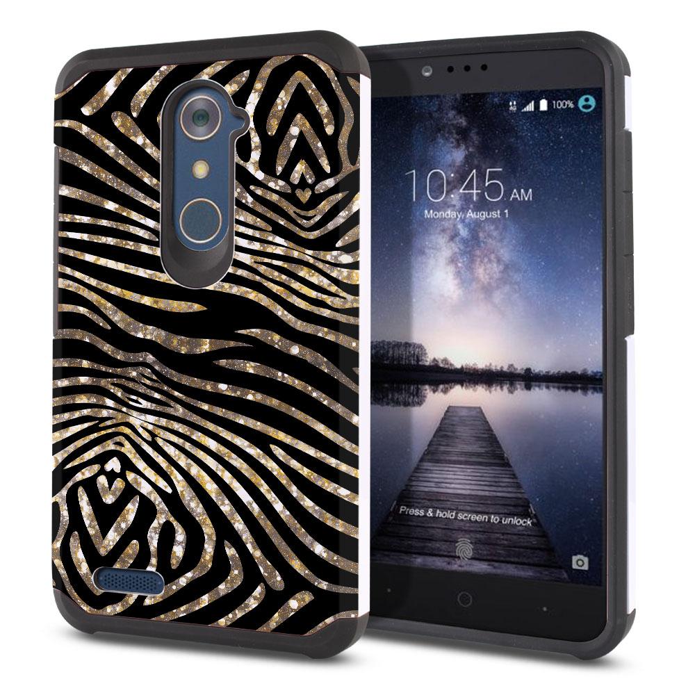 ZTE Zmax Pro Carry Z981 Hybrid Slim Fusion Zebra Stripes Gold Protector Cover Case
