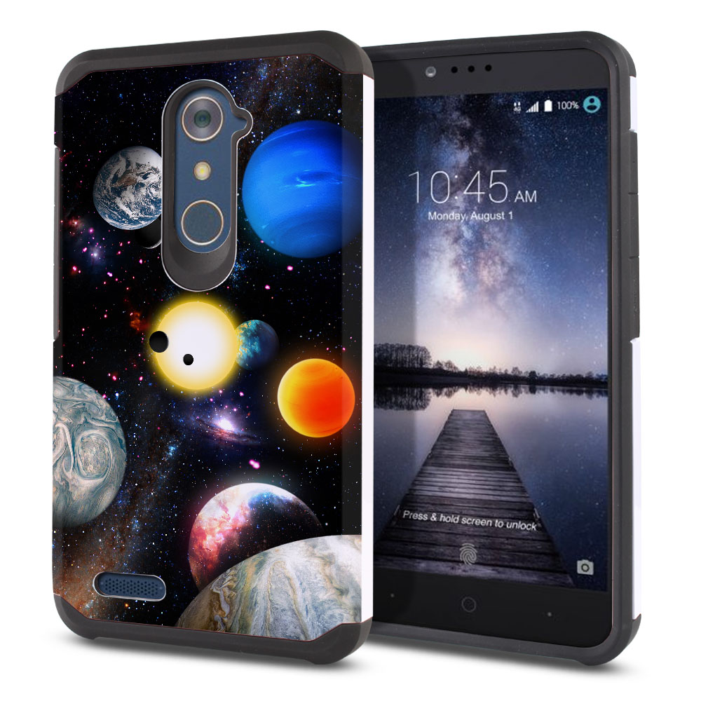 ZTE Zmax Pro Carry Z981 Hybrid Slim Fusion Planet Solar System 2 Protector Cover Case