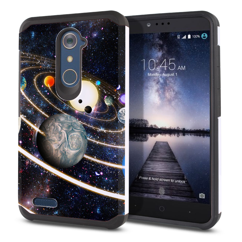 ZTE Zmax Pro Carry Z981 Hybrid Slim Fusion Rings of Solar System Protector Cover Case