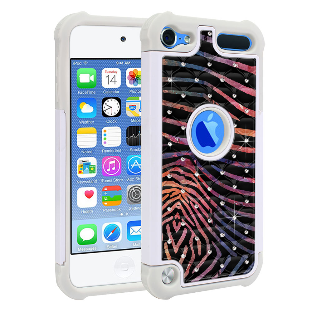 Apple iPod Touch 6 (6th Generation) Hybrid Total Defense Some Rhinestones Zebra Stripes Dusk Protector Cover Case