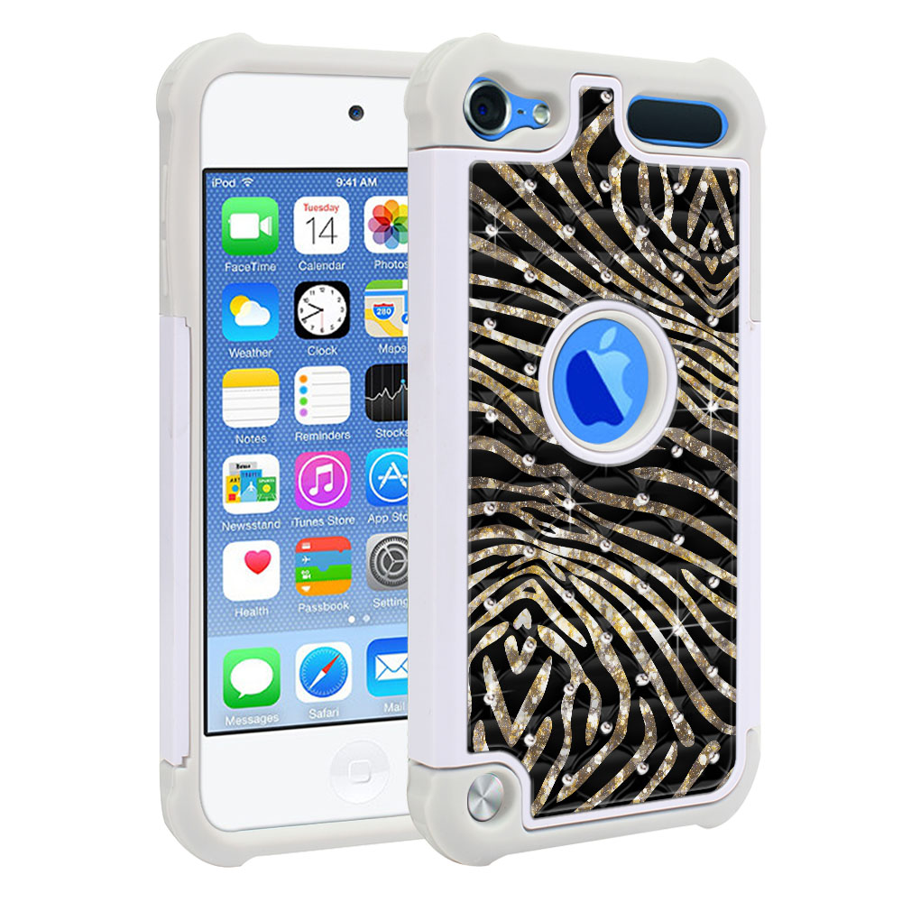 Apple iPod Touch 6 (6th Generation) Hybrid Total Defense Some Rhinestones Zebra Stripes Gold Protector Cover Case