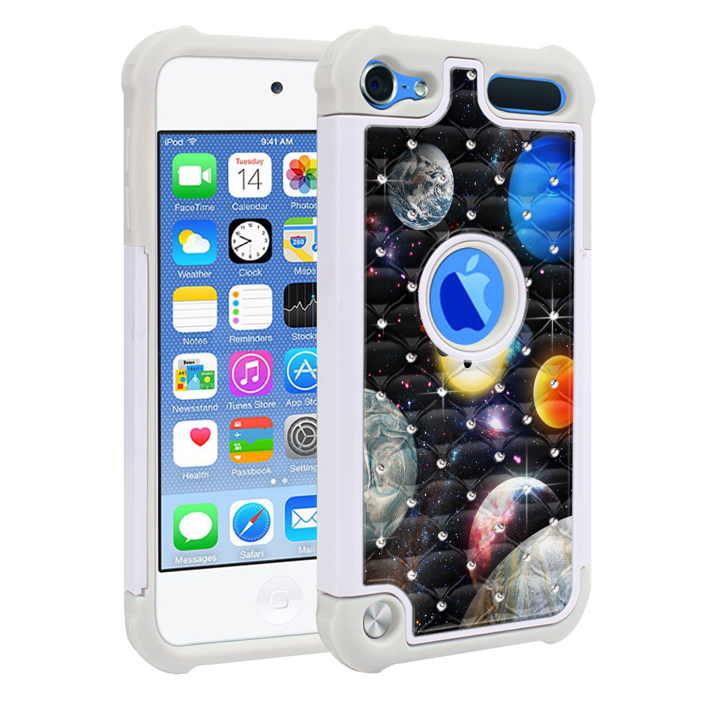 Apple iPod Touch 6 (6th Generation) Hybrid Total Defense Some Rhinestones Planet Solar System 2 Protector Cover Case
