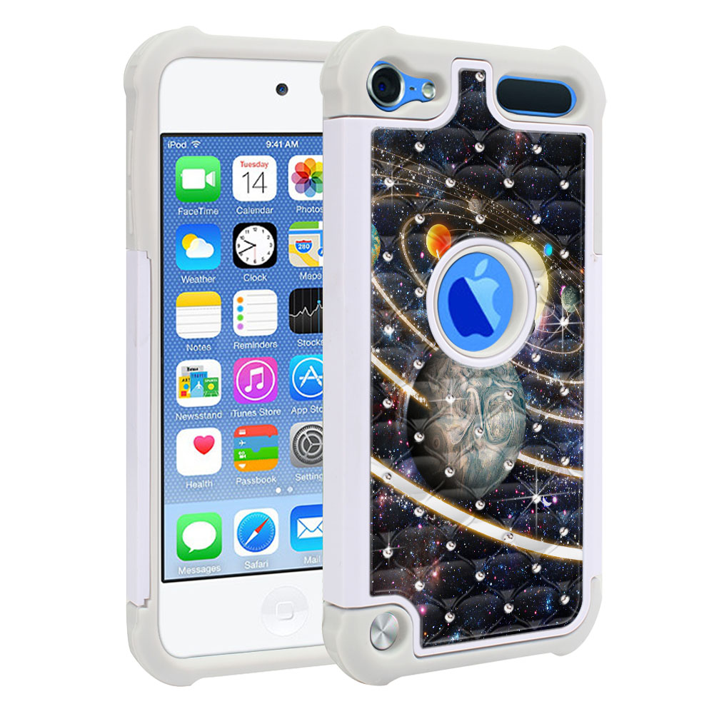 Apple iPod Touch 6 (6th Generation) Hybrid Total Defense Some Rhinestones Rings of Solar System Protector Cover Case