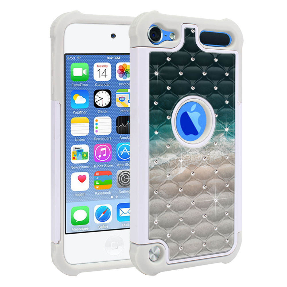 Apple iPod Touch 6 (6th Generation) Hybrid Total Defense Some Rhinestones Sandy Beach Protector Cover Case