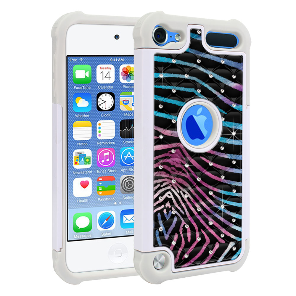 Apple iPod Touch 6 (6th Generation) Hybrid Total Defense Some Rhinestones Zebra Stripes Black Protector Cover Case