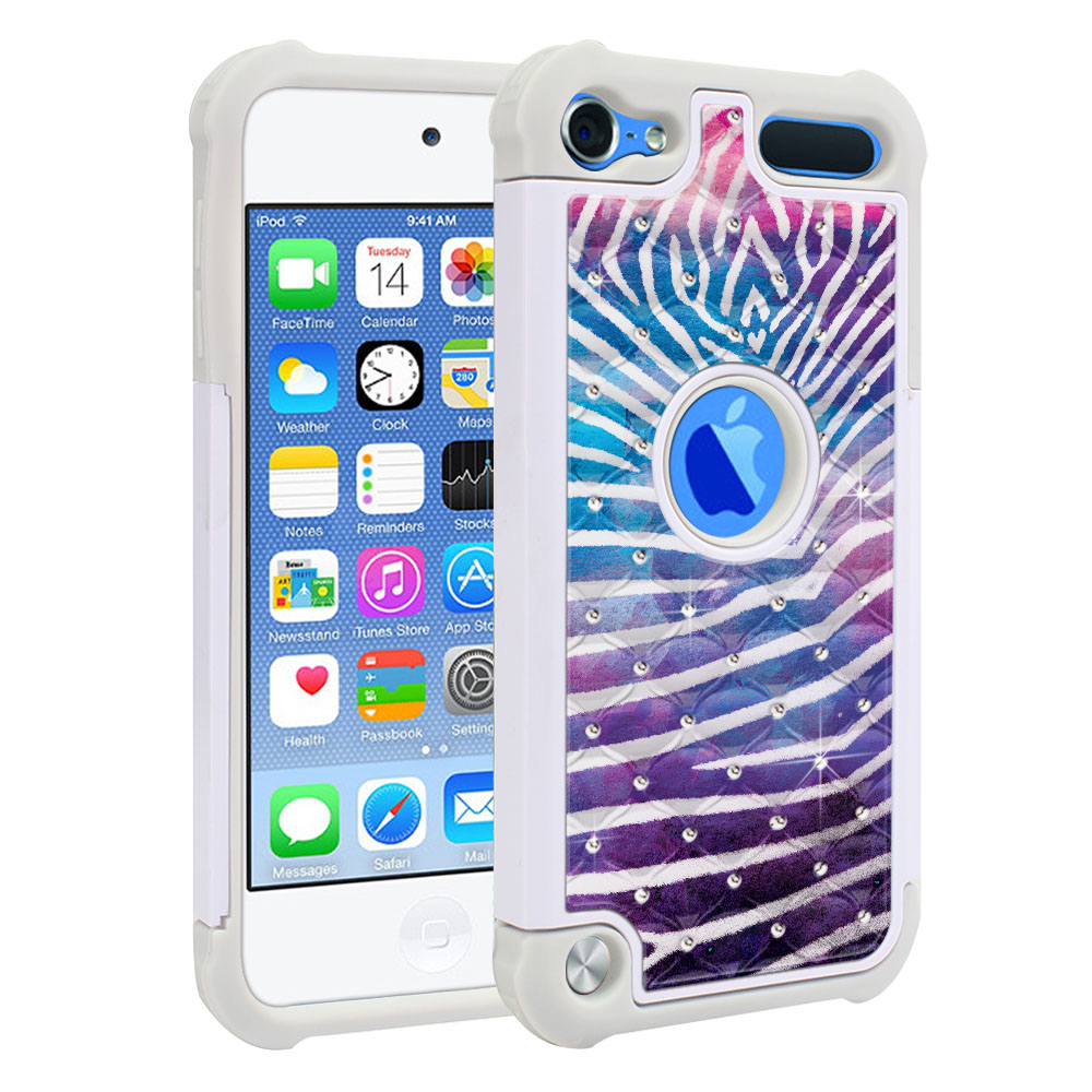 Apple iPod Touch 6 (6th Generation) Hybrid Total Defense Some Rhinestones Zebra Stripes White Protector Cover Case
