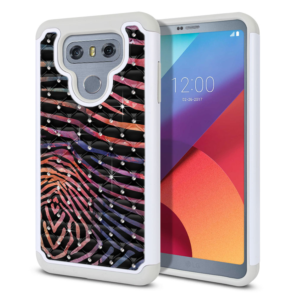 LG G6 H870 Hybrid Total Defense Some Rhinestones Zebra Stripes Dusk Protector Cover Case